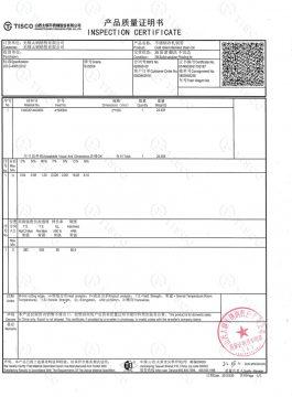 Osvedčenie o inšpekcii 304SS