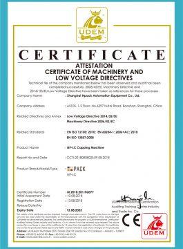 Osvedčenie CE o uzatváracom stroji